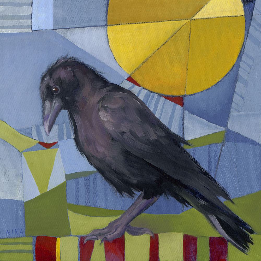 Painting of a small black crow.