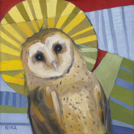 Painting of a small owl with a halo.