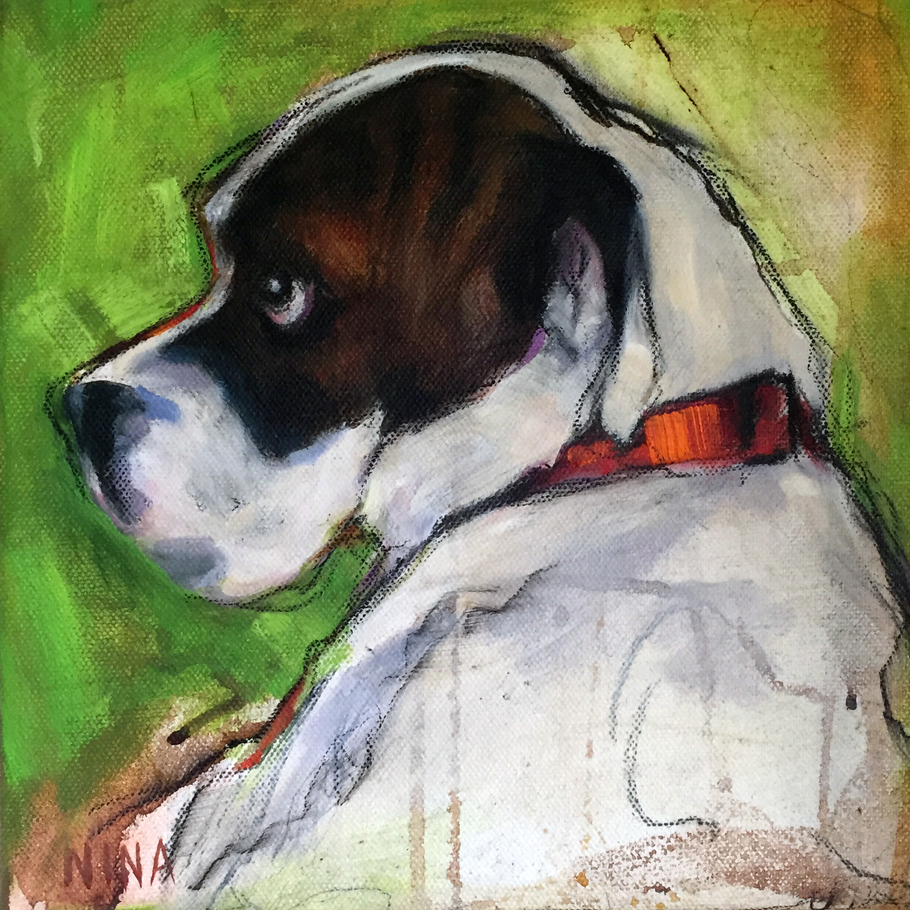 Painting of a boxer named Lola.