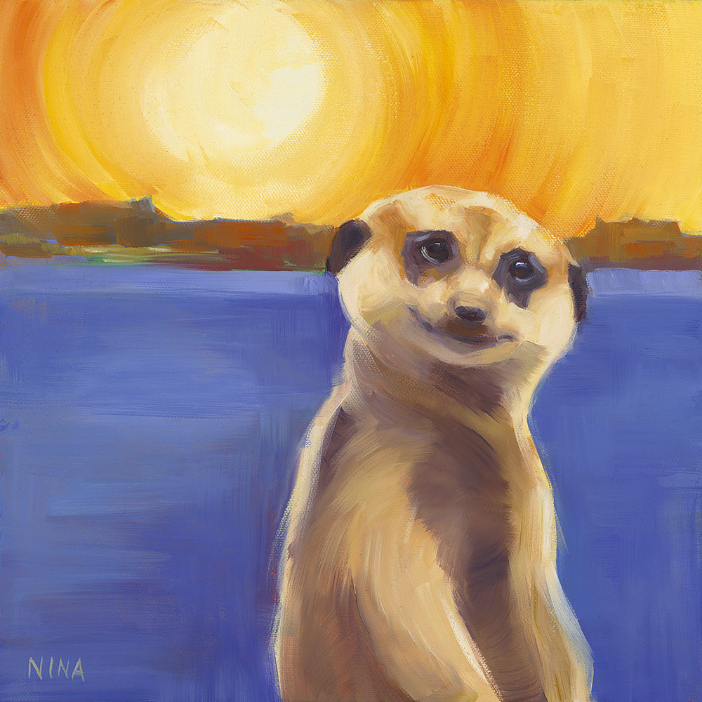 Painting of a meerkat in front of a landscape.