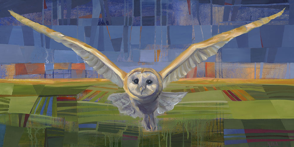 Painting of an owl in flight over fields.
