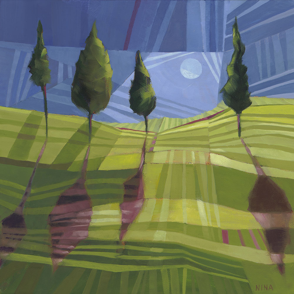 Painting of a striped hillside with trees and shadows in the moonlight.