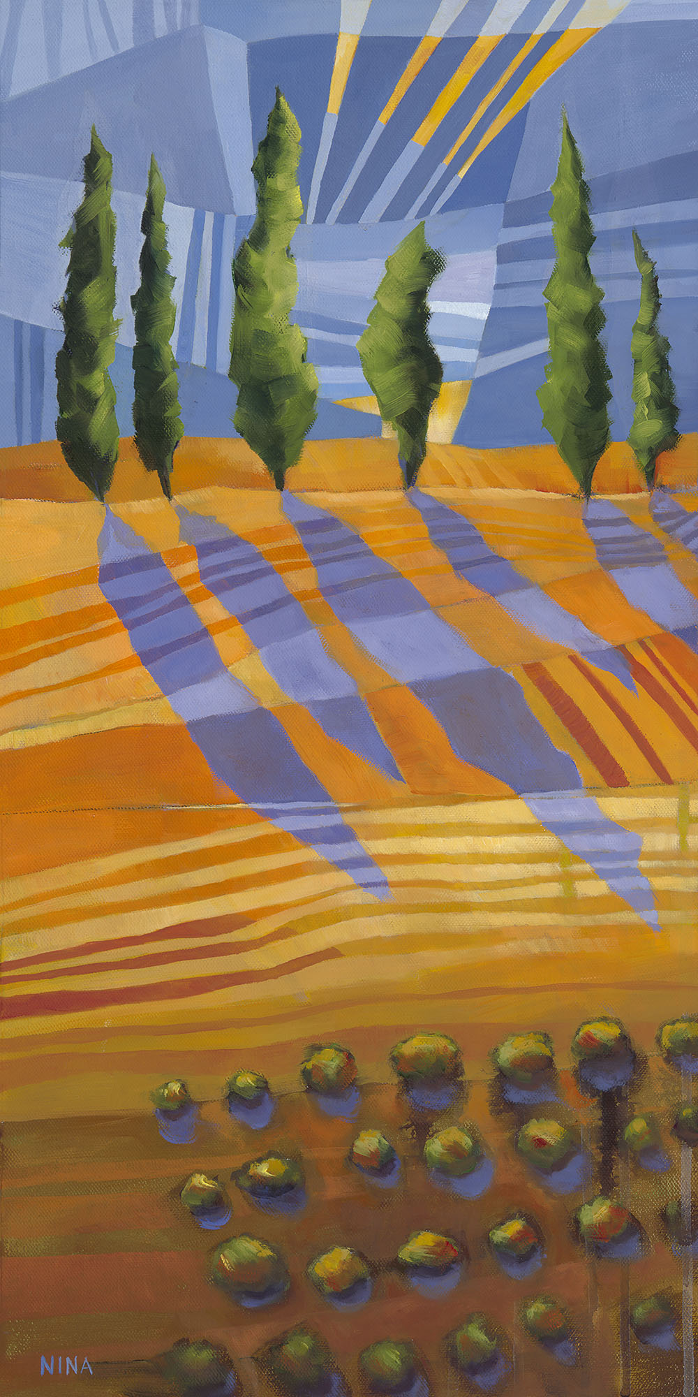 Painting of trees on orange striped fields.