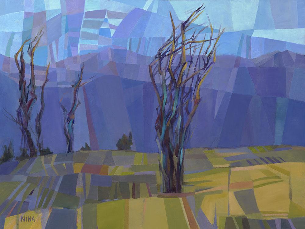 Painting of trees in a field in Roslyn Washington.