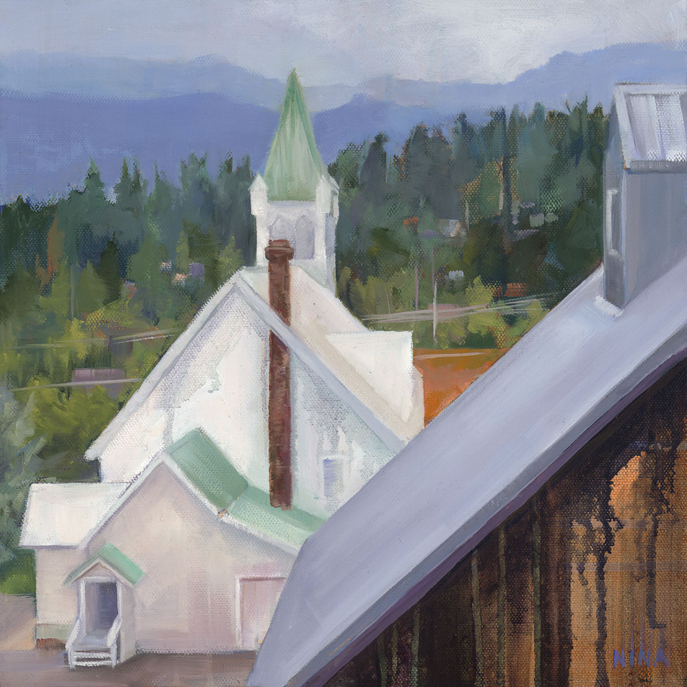 Painting of rooftops in Roslyn Washington.