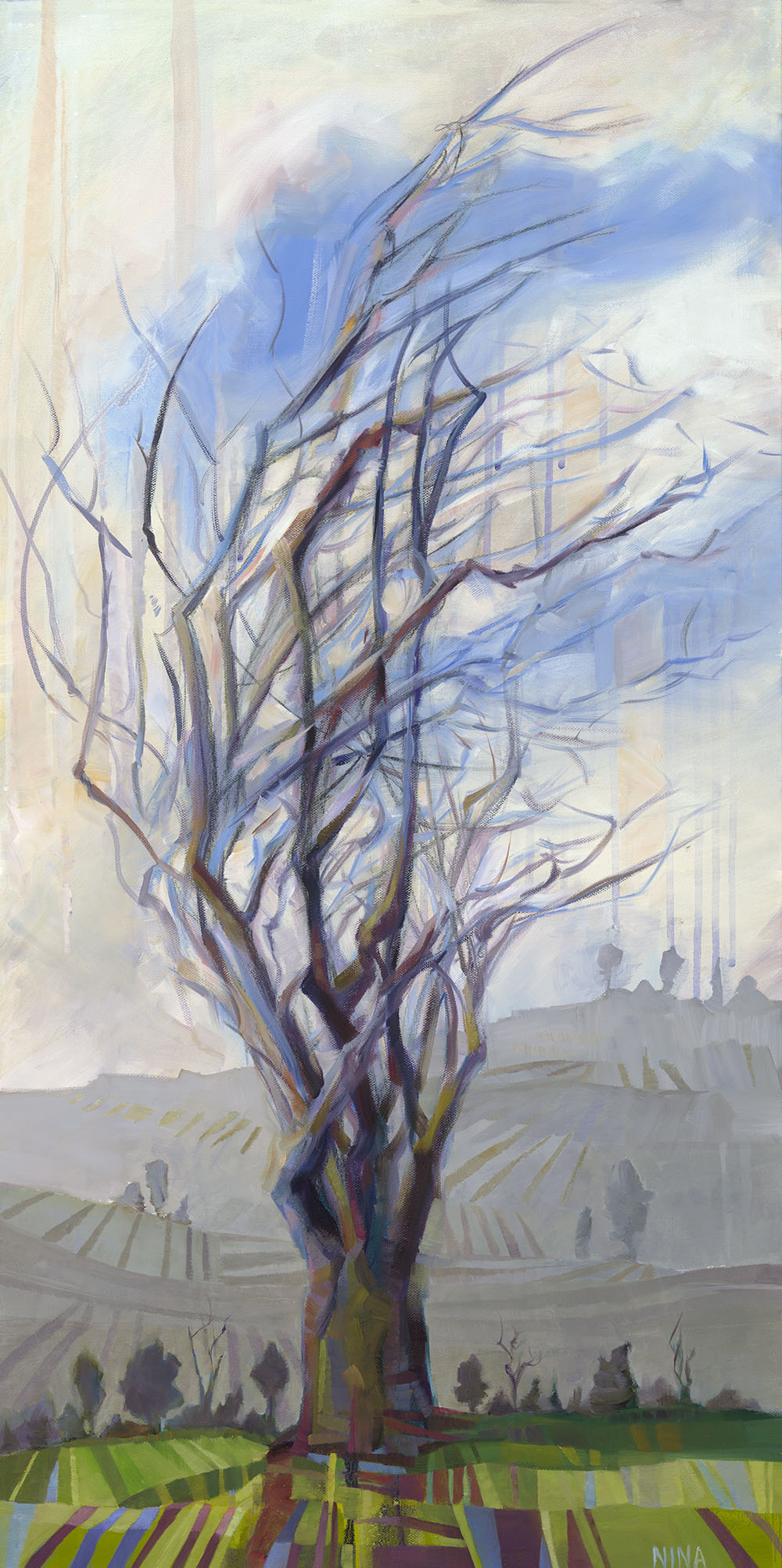 Painting of a large tree in Roslyn Washington.