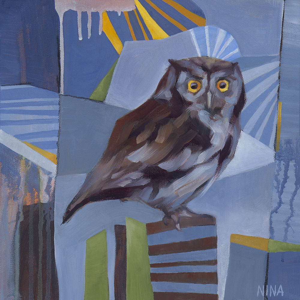 Painting of a small screech owl.