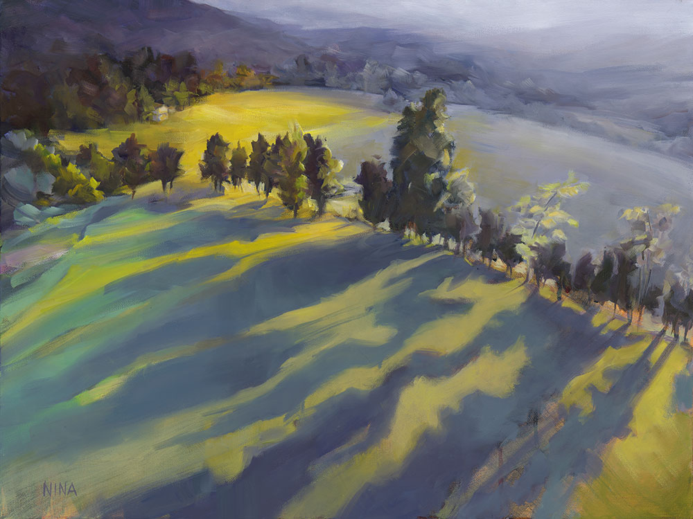 Painting of trees in fields with strong shadows.