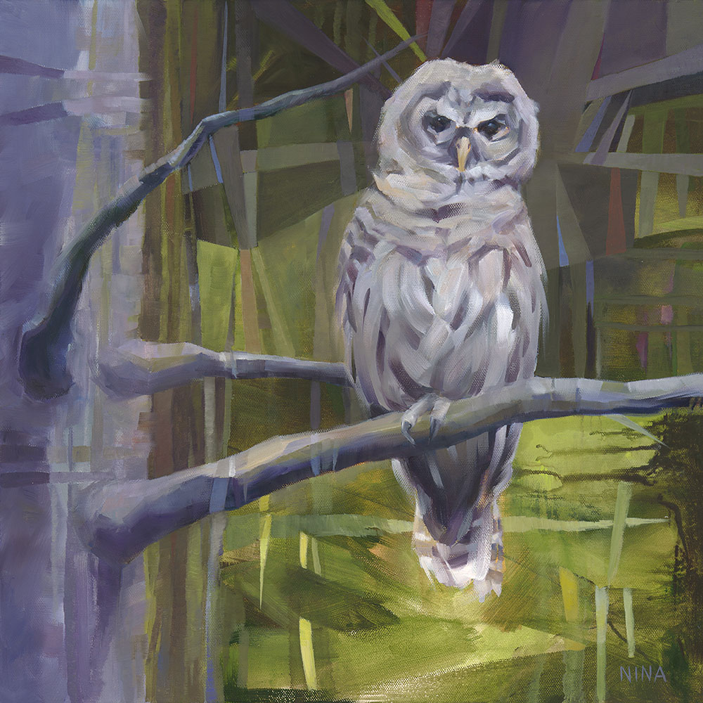 Painting of an owl in a forest.