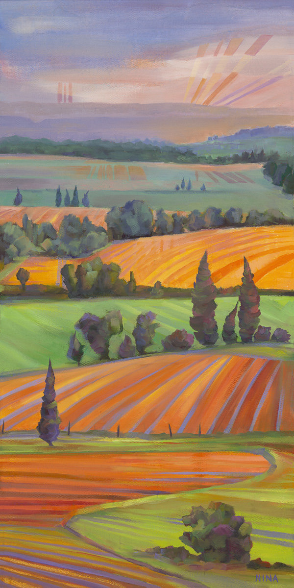 Painting of fields at sunset.