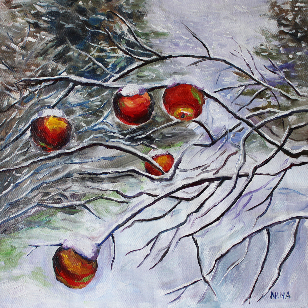 Painting of apples hanging on branches in the snow.