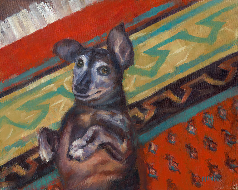 Painting of a dachshund lying on a Persian rug.