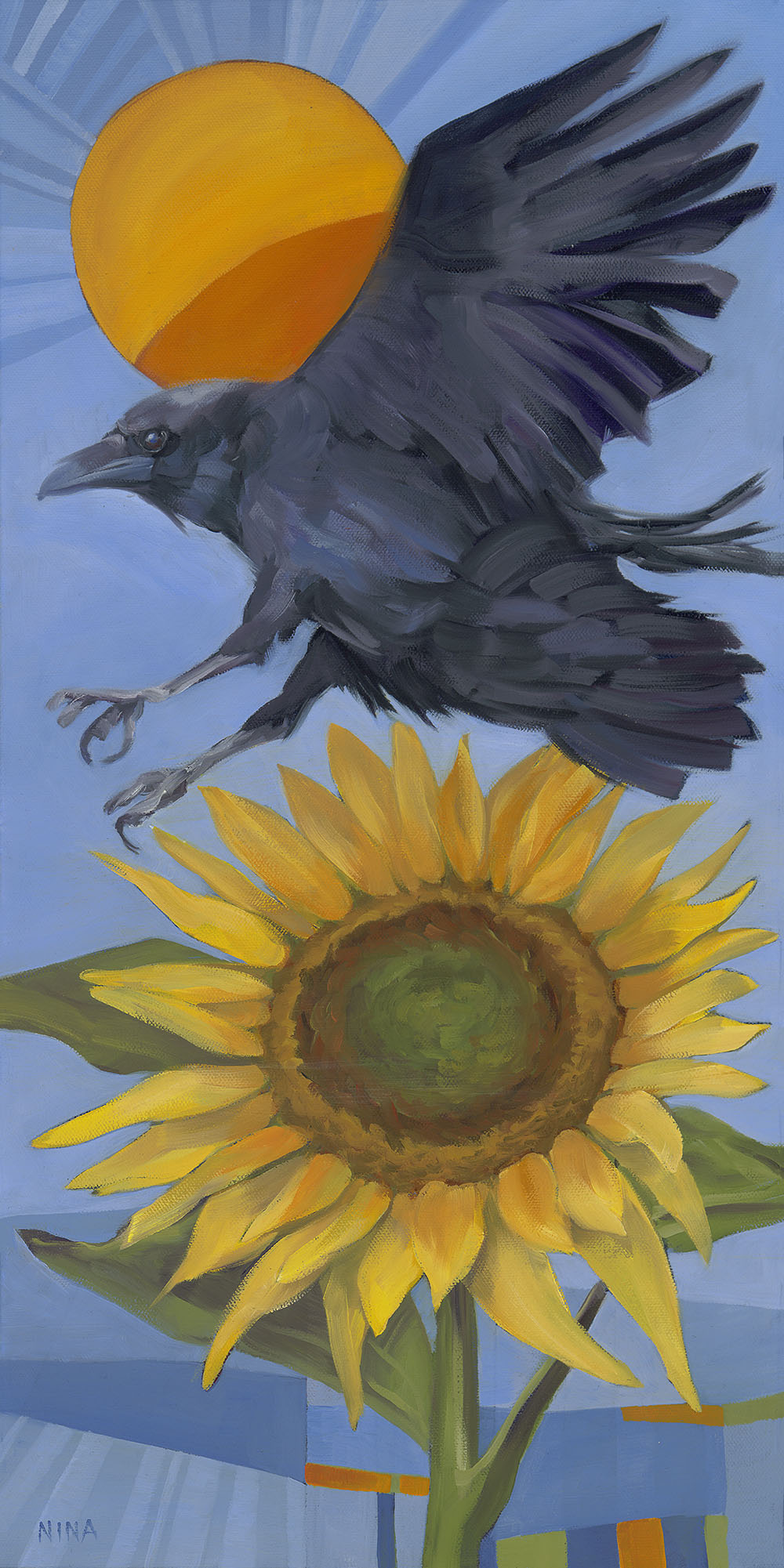 Painting of a crow flying over a sunflower.