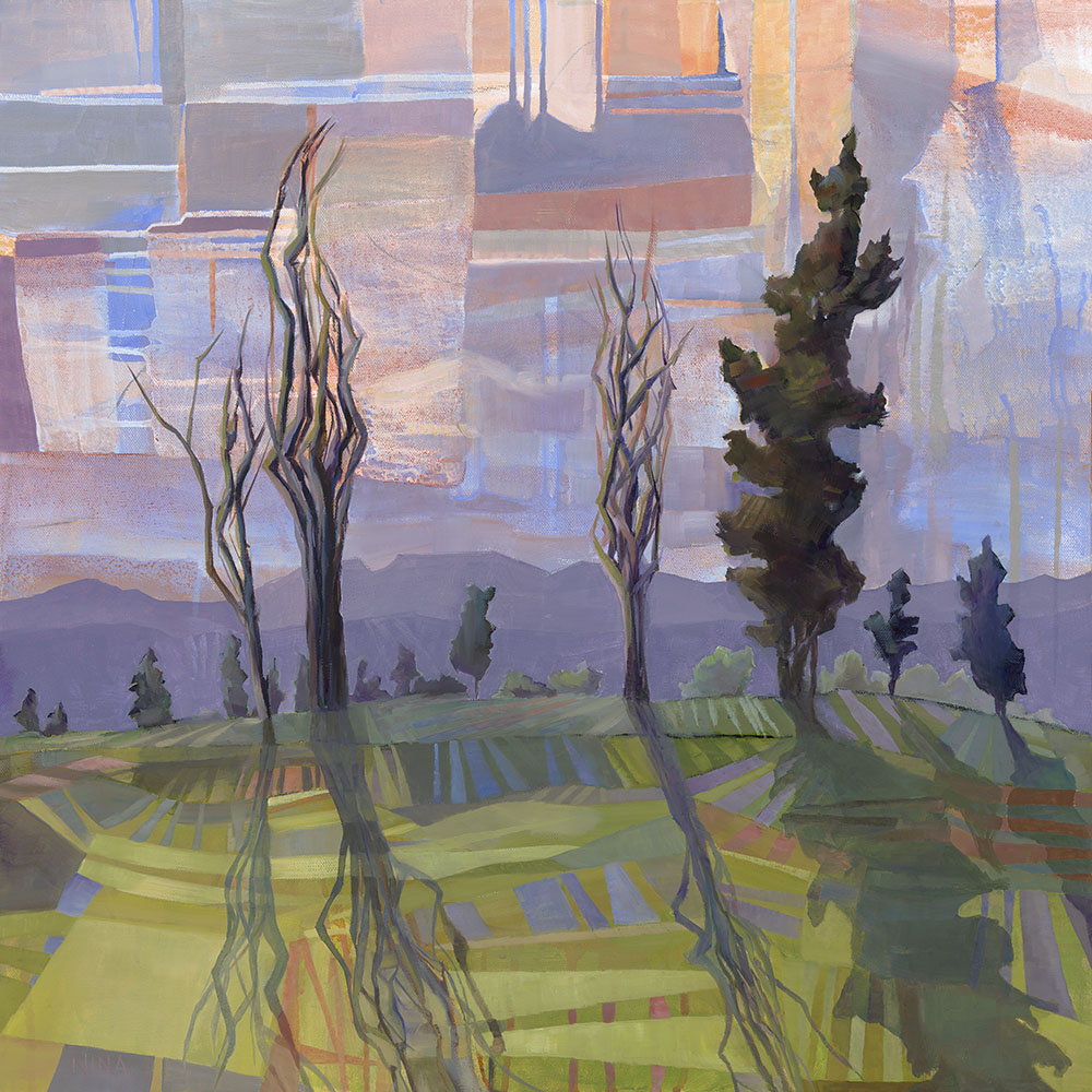 Painting of a field of trees in Roslyn Washington.