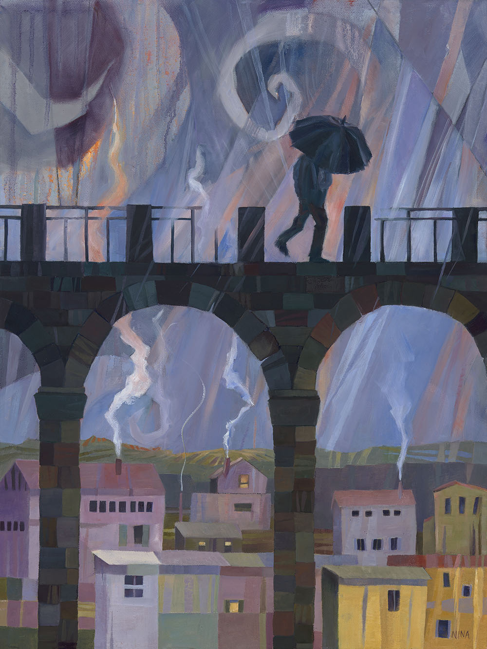 Painting of a figure crossing a bridge on a rainy night.