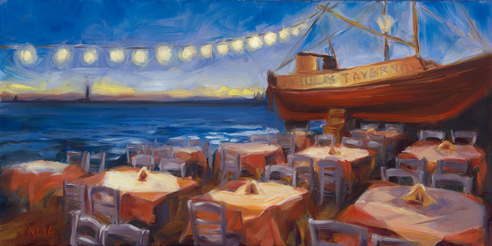 Painting of a Greek Taverna on the water.