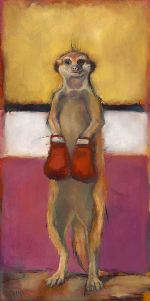 Painting of a meerkat wearing boxing gloves.