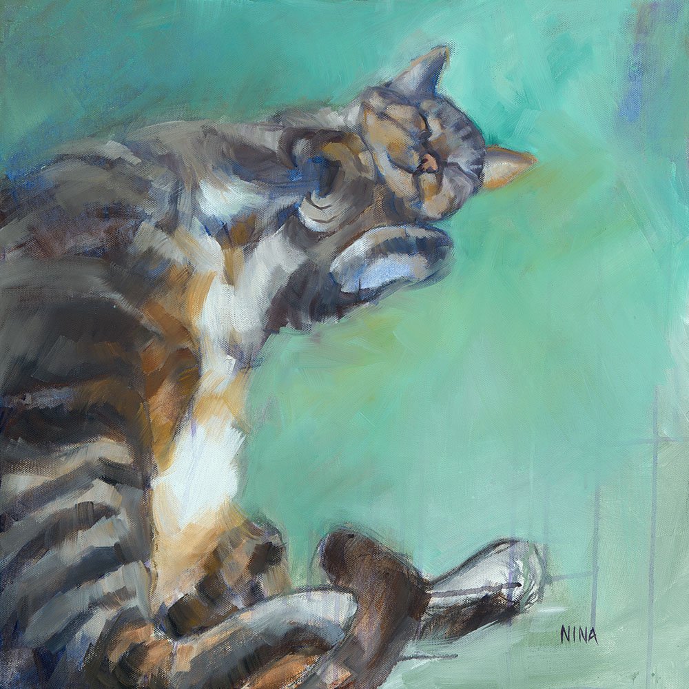 Painting of a cat lying on its back.