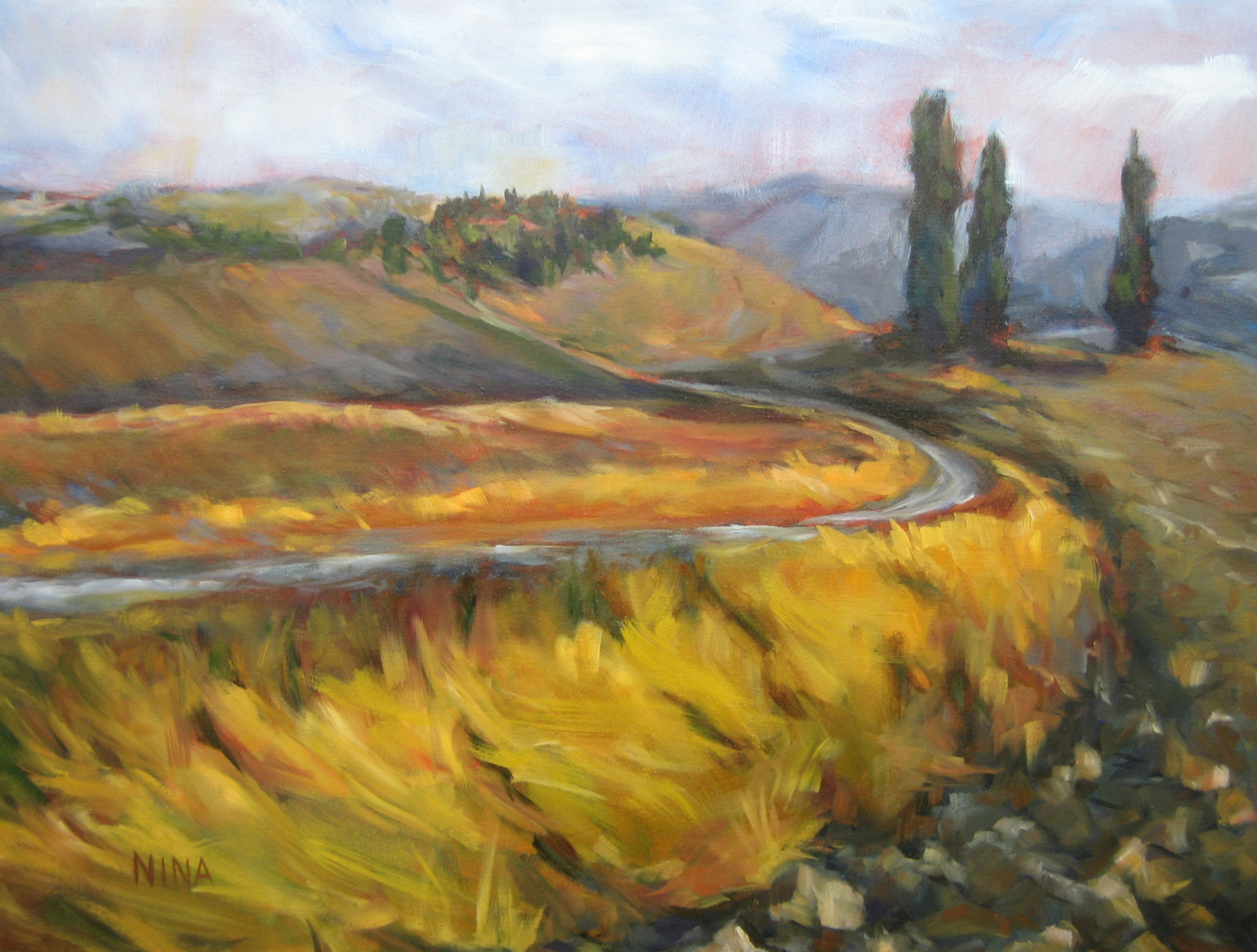 Painting of a Tuscany landscape.