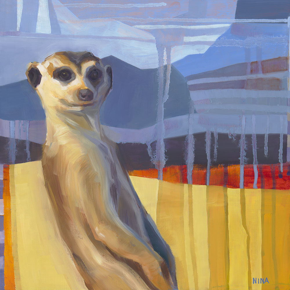 Painting of a sassy meerkat on a striped background.