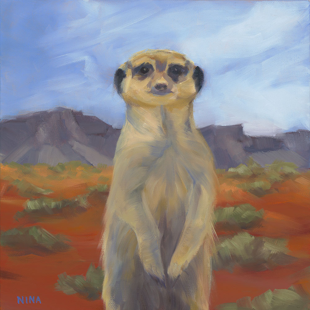 Painting of a meerkat in the desert.
