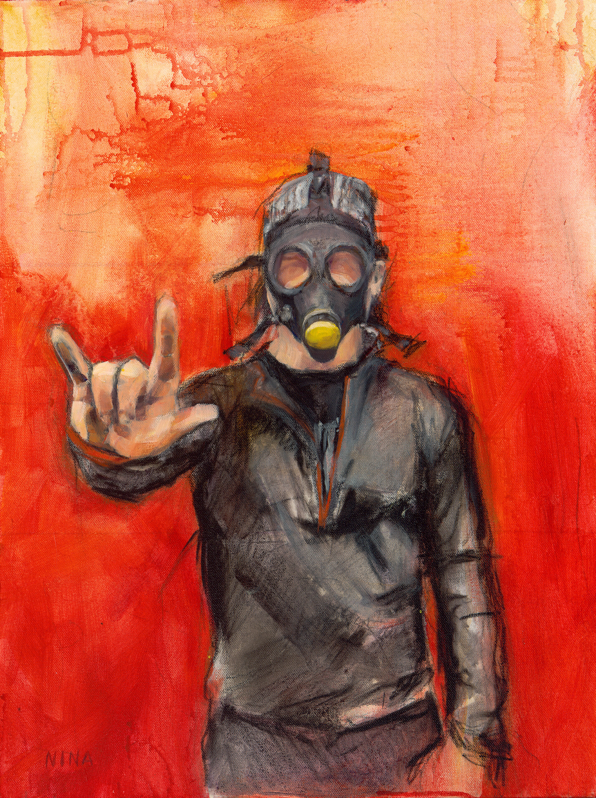 Painting of a man wearing an high altitude face mask.
