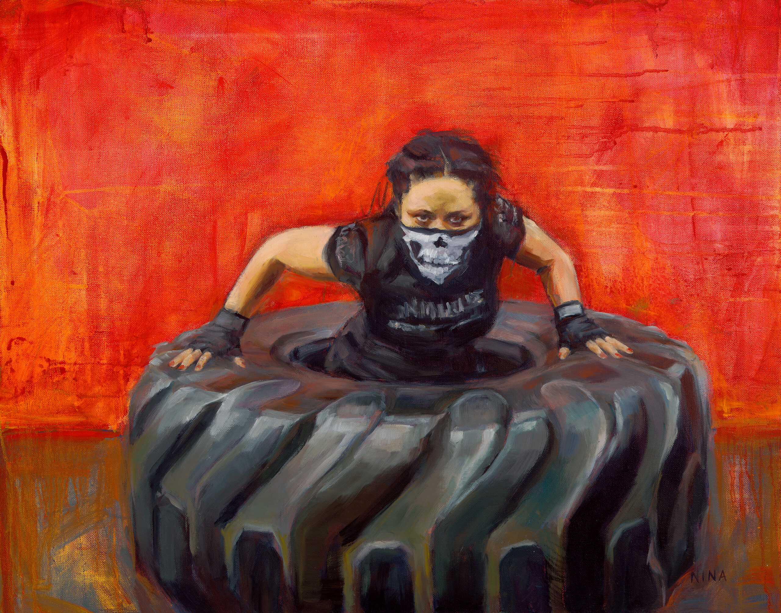 Painting of a female boxer in a tractor tire.