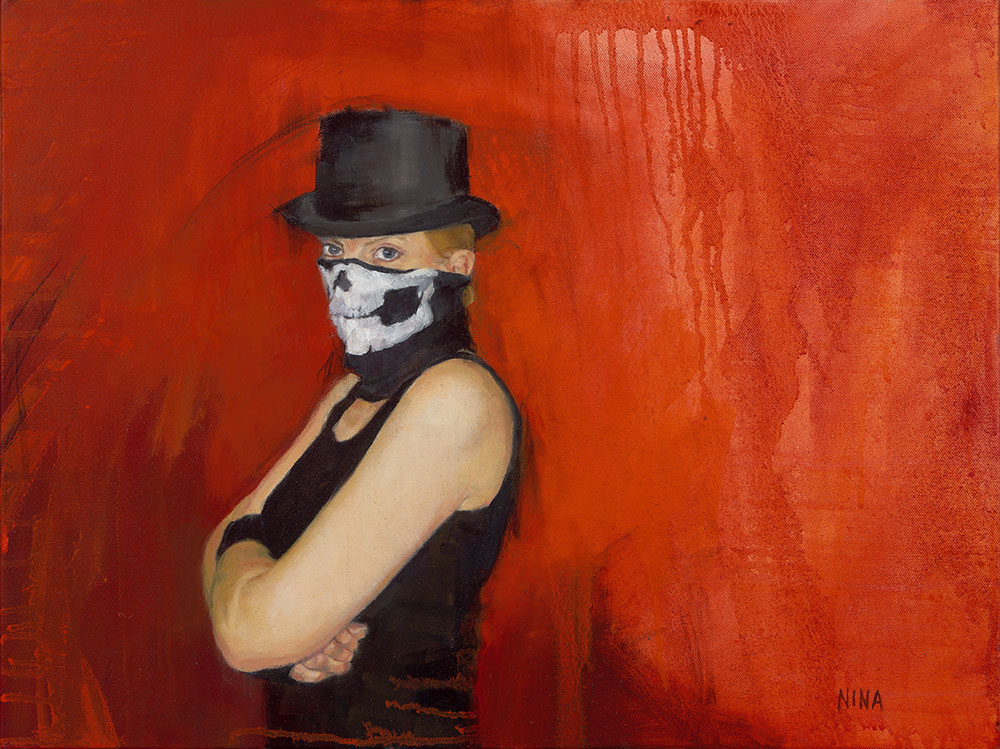 Painting of a female boxer wearing a top hat.