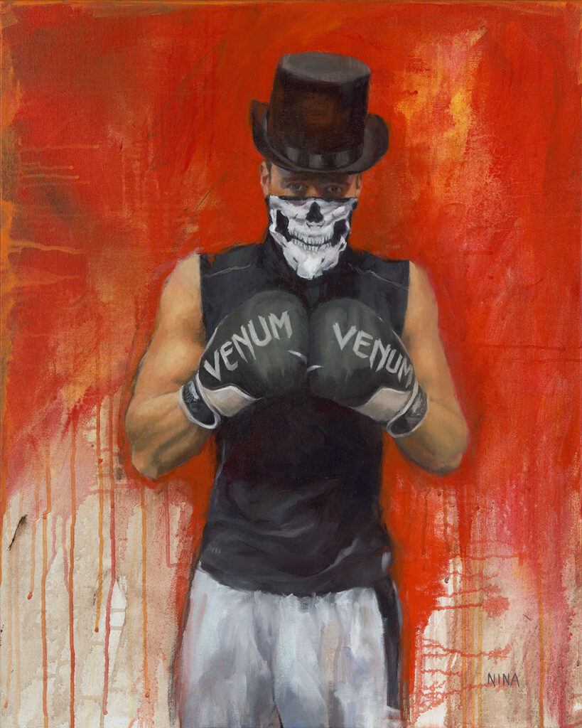 Painting of a male boxer wearing a top hat.
