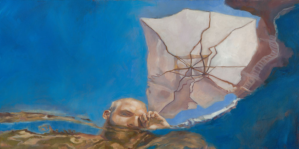 Painting of a man in a swimming pool with umbrella.