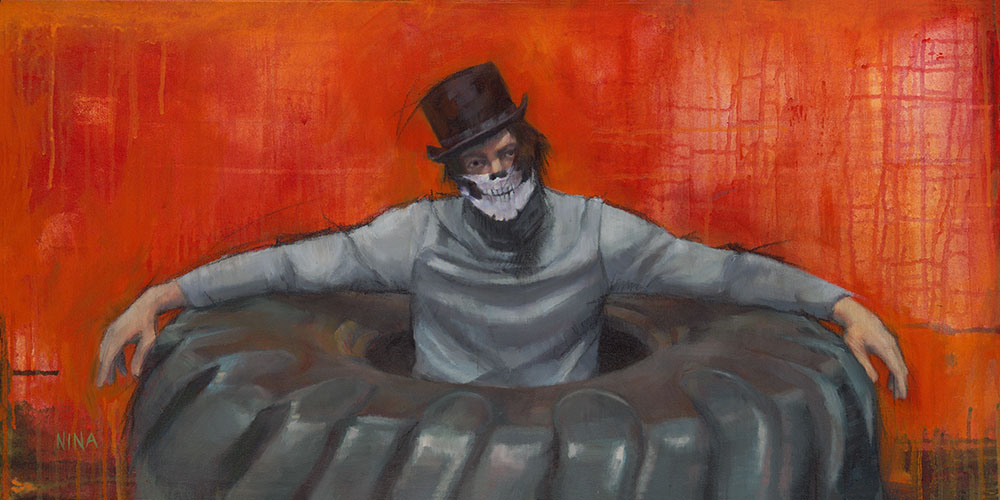 Painting of a man wearing a top hat in a tractor tire.