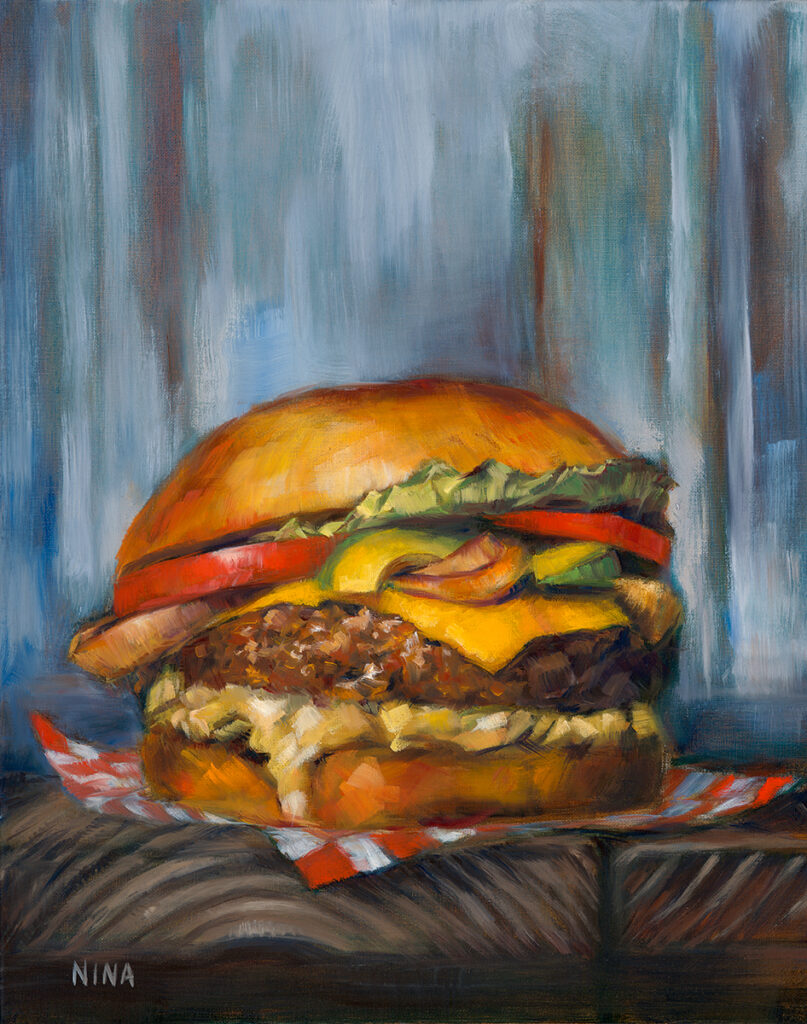 Painting of a giant juicy cheeseburger