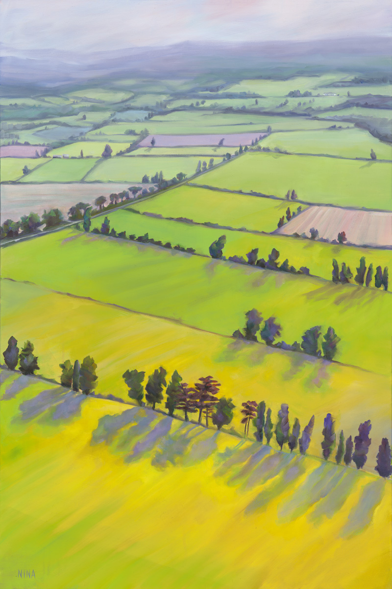 Painting of a vast landscape of fields and rows of trees.