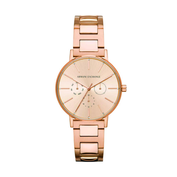 Armani Exchange Rose Gold Dial Stainless Steel Watch
