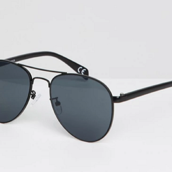 Black aviator sunglasses metal with smoke lens