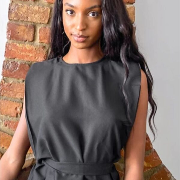 Black Tall tee with shoulder pad and belt detail
