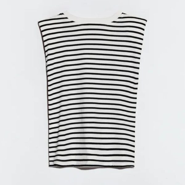 Black/White T-shirt with shoulder pads