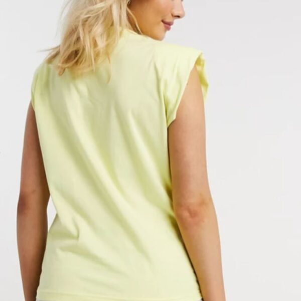 Yellow sleeveless t-shirt with shoulder pad