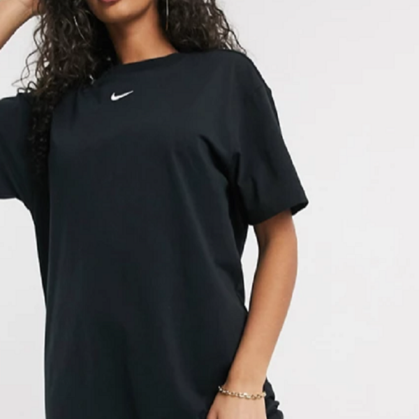 Black Nike mini swoosh oversized t-shirt dress