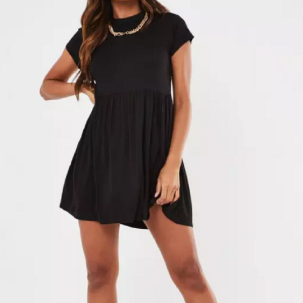 Black short sleeve smock dress