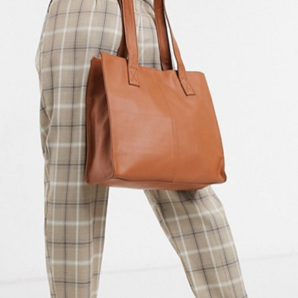 Brown leather square shopper bag