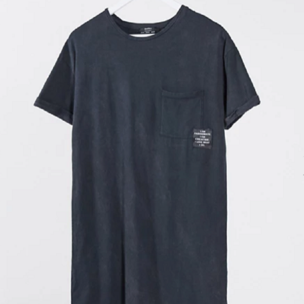 Black oversized acid wash t-shirt dress