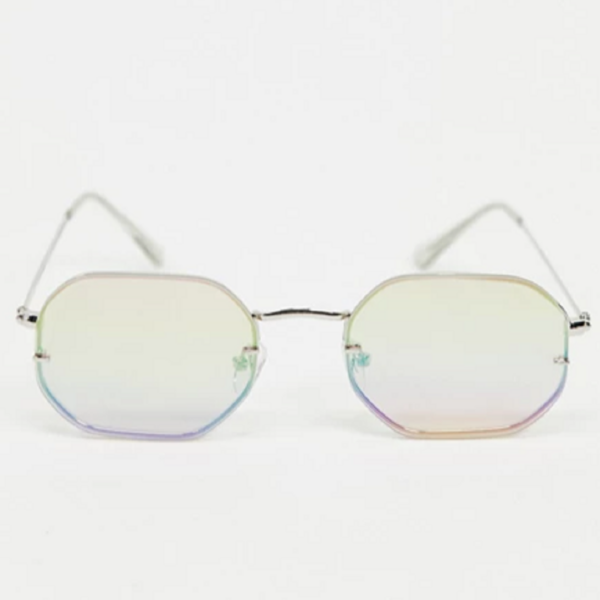 Square rimless sunglasses with pink lens