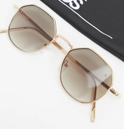 Gold Angled round sunglasses with smoke grad lens