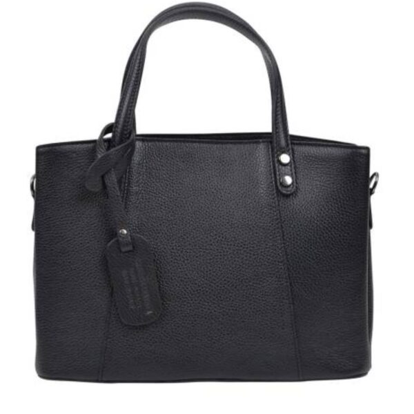 ANNA LUCHINI Black Leather Top Handle Bag