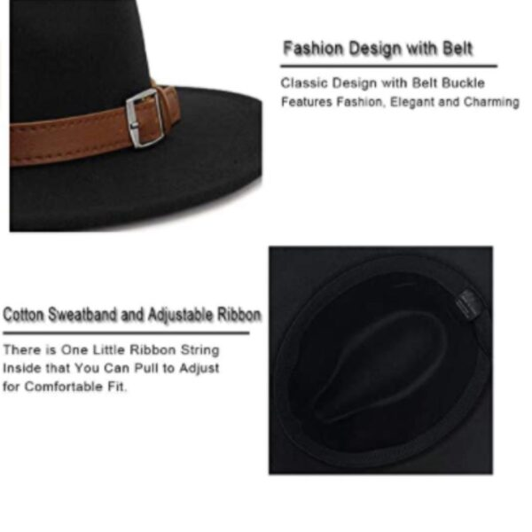 Black Classic Men & Women Wide Brim Panama Hat with Belt Buckle