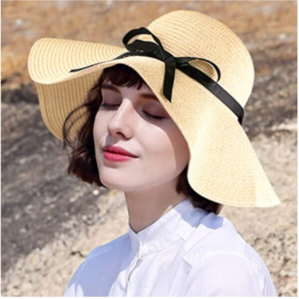 Foldable Wide Brim Floppy Straw Hat with Lovely Ribbon Bow