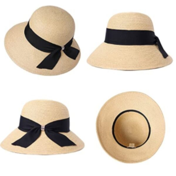 Beige Wide Brim Floppy Sun Hat