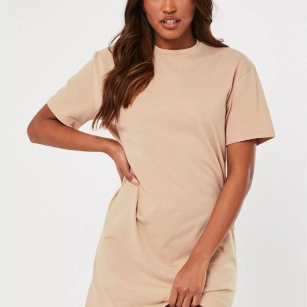 Beige basic t shirt dress