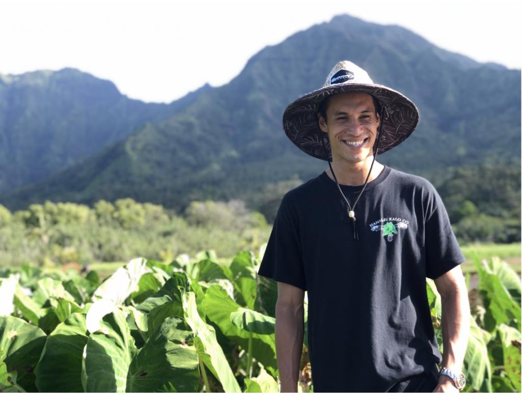 Farmer Kaisen Carrillo the founder of Hanalei Kalo Company.